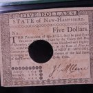 New Hampshire Colonial Note, $5. Dated: April 29, 1780. PMG Graded AU53.