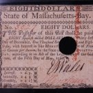 Massachusetts Colonial Note. $8. Dated: May 5, 1780. PMG Graded EF40.