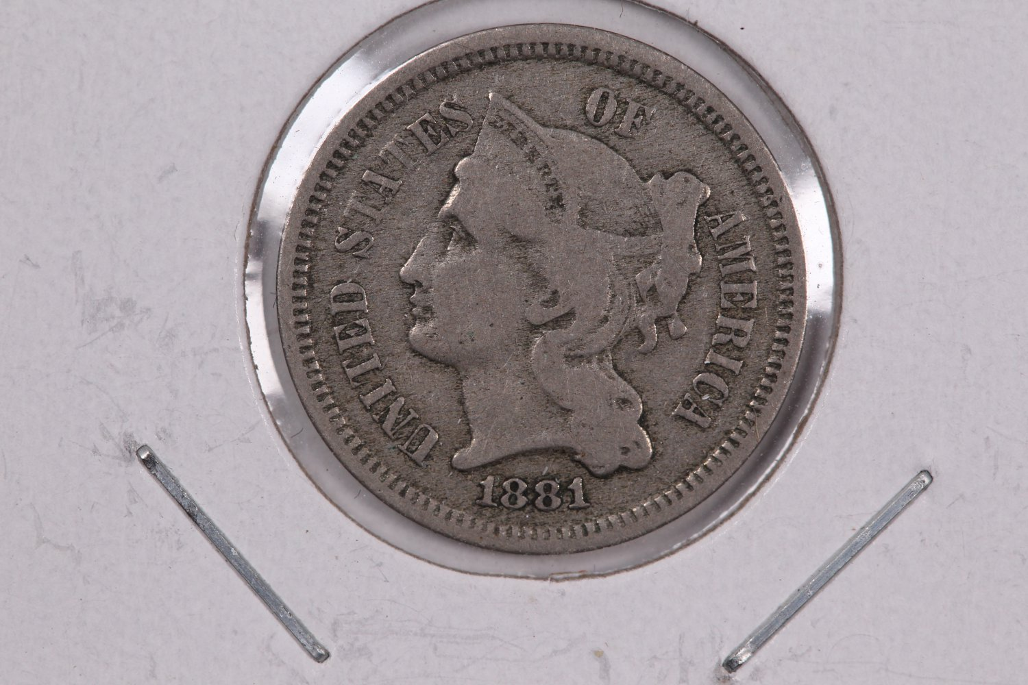 1881 3 Cent Copper Nickel.  Nice Circulated Coin. Store Sale #0247.