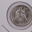 1861 Seated Liberty Half Dime.  About UN-Circulated Coin. Affordable. Store Sale #0448.