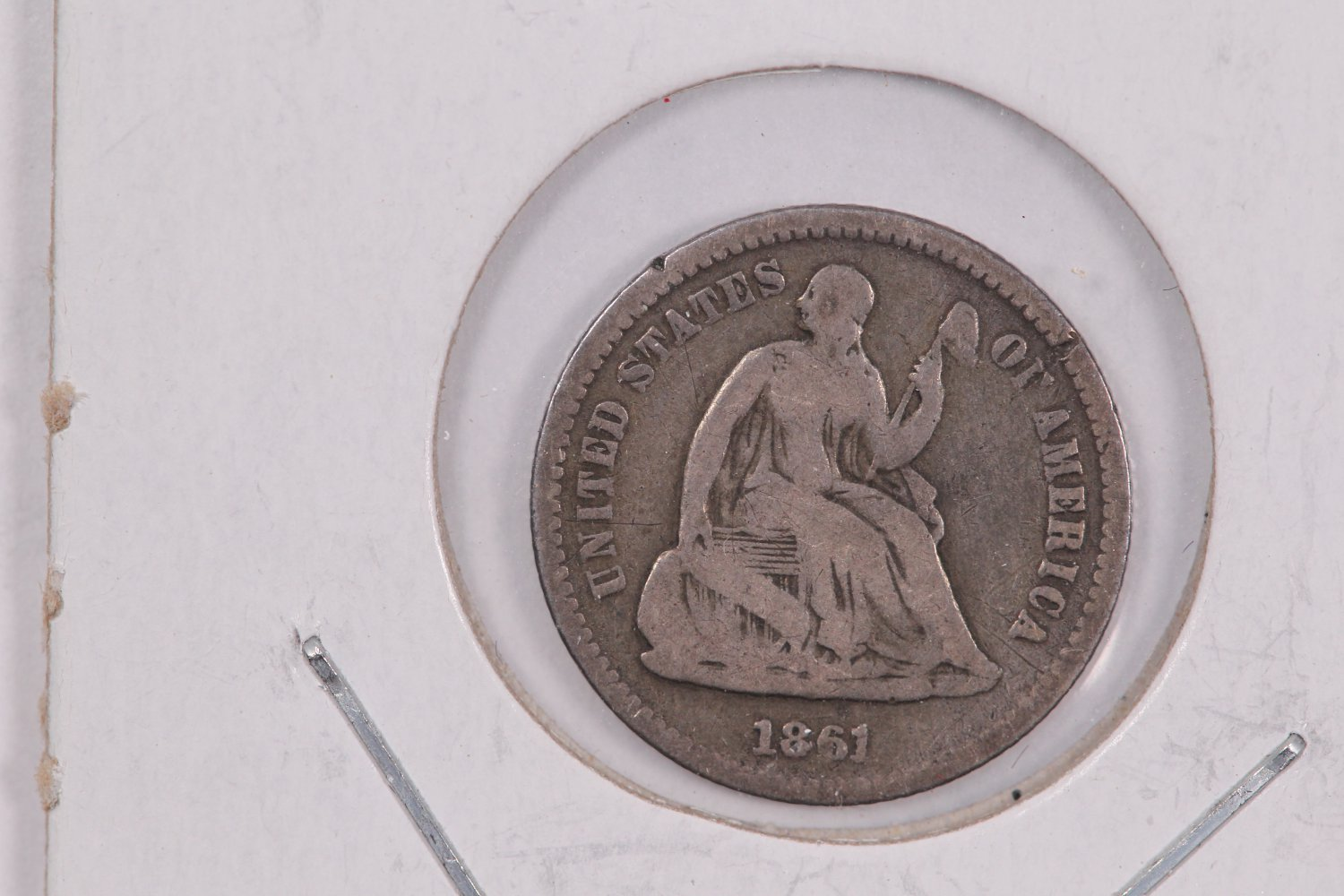 1861 Seated Liberty Half Dime. Circulated Coin.  Store Sale #0460.