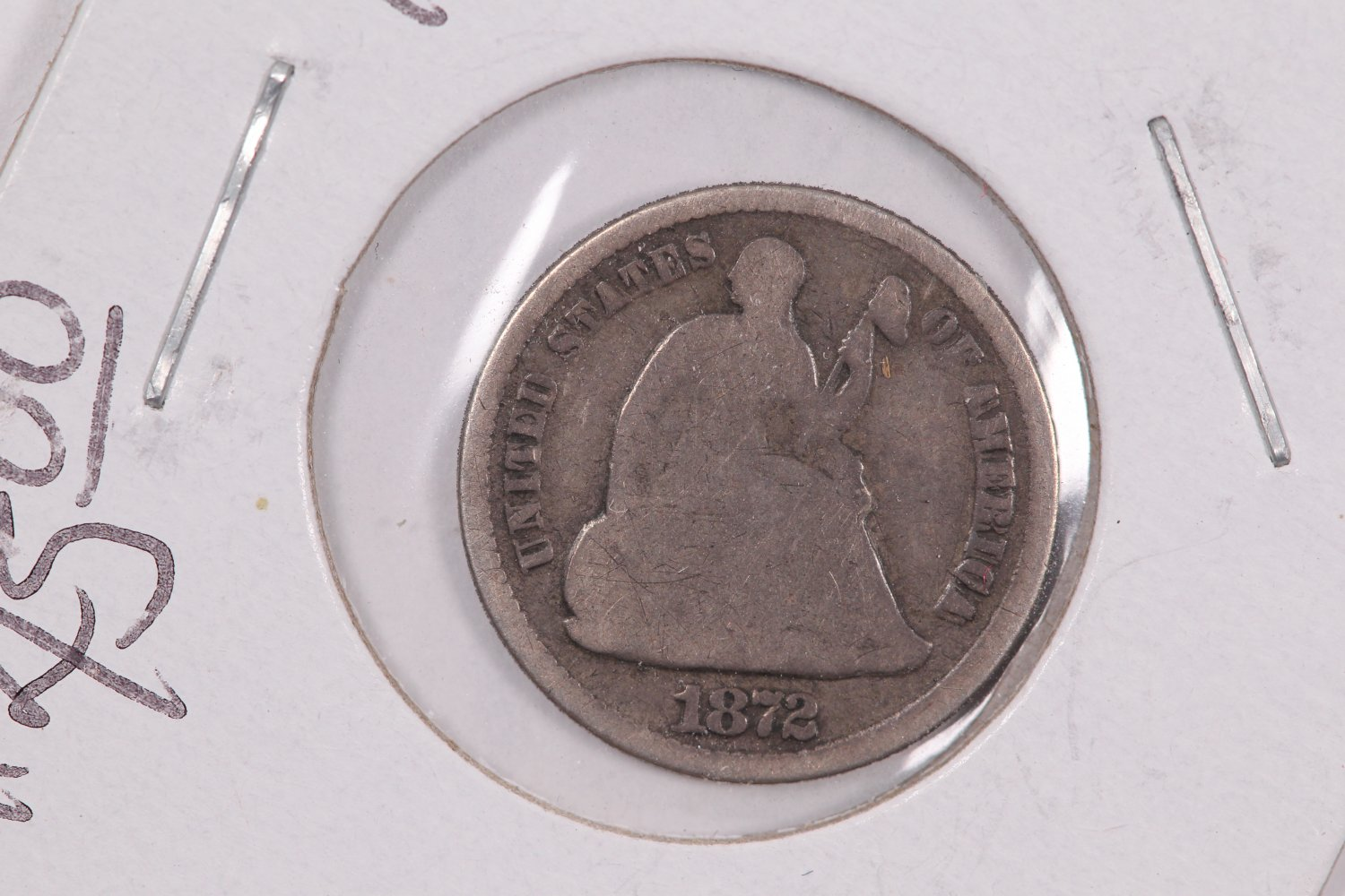 1872 Seated Liberty Half Dime.  Circulated Coin. Store Sale #0491.
