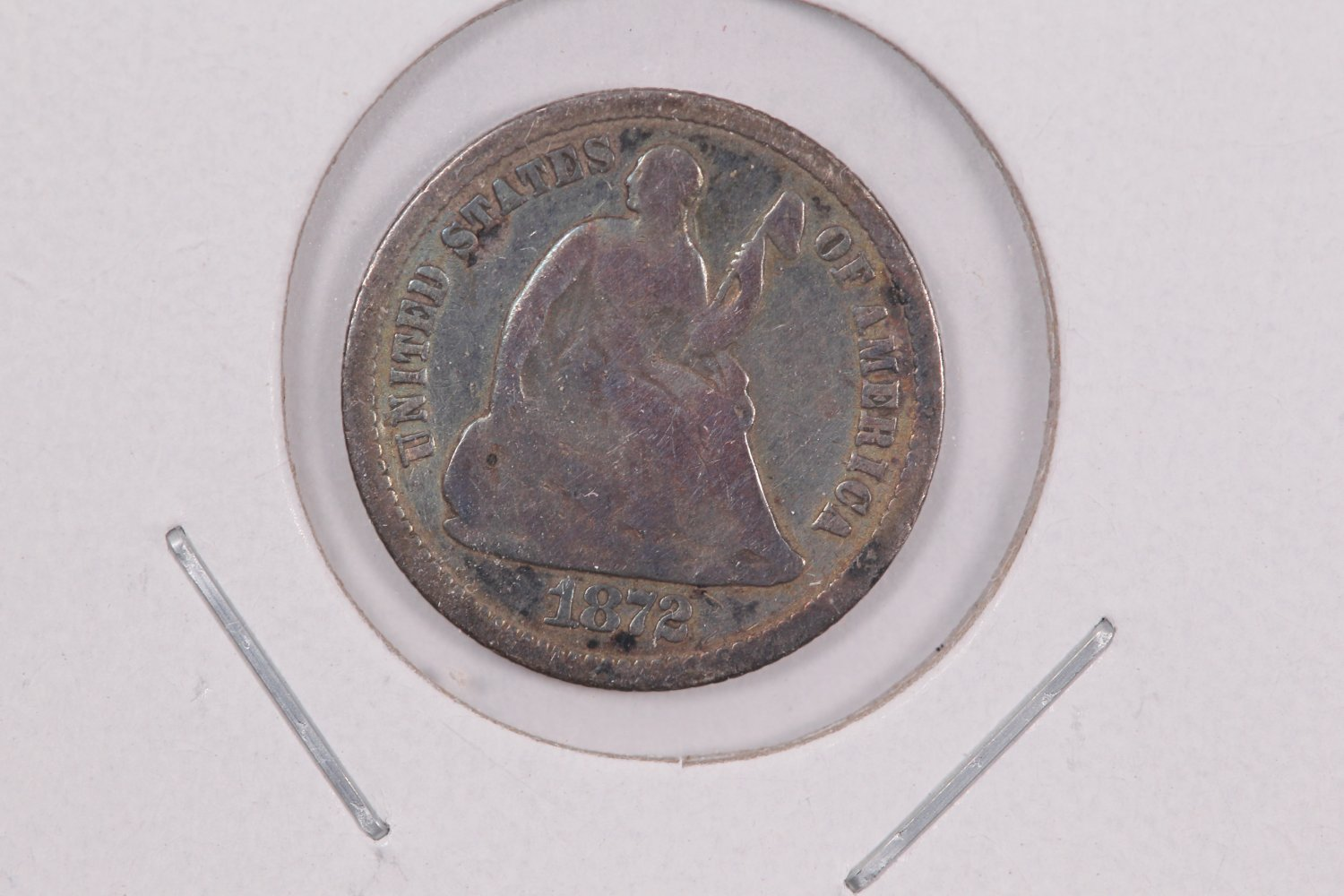 1872 Seated Liberty Half Dime.  Circulated Coin. Store Sale #0493.