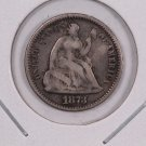 1873 Seated Liberty Half Dime.  Circulated Coin. Store Sale #0501.