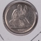 1838-O Seated Liberty Dime. No Stars, Large Date, V.F. Circulated Coin. Store #0549.