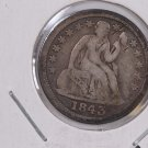 1843 Seated Liberty Dime. Re-Punched Date, Circulated Coin. Store #0596.