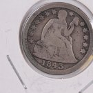1843 Seated Liberty Dime.  Circulated Coin. Store #0598.