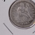 1843-O Seated Liberty Dime.  Hard Date, V.F. Plus Circulated Coin. Store #0600.