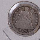 1848 Seated Liberty Dime, Circulated Coin. Store #0608.