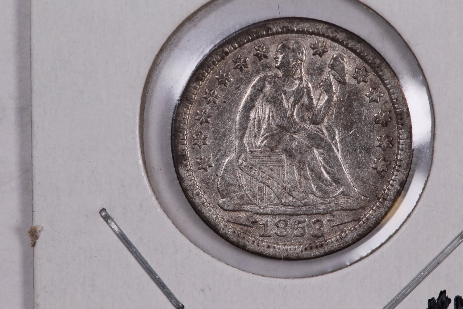 1853 Seated Liberty Dime,  Circulated Coin. Store #0636.