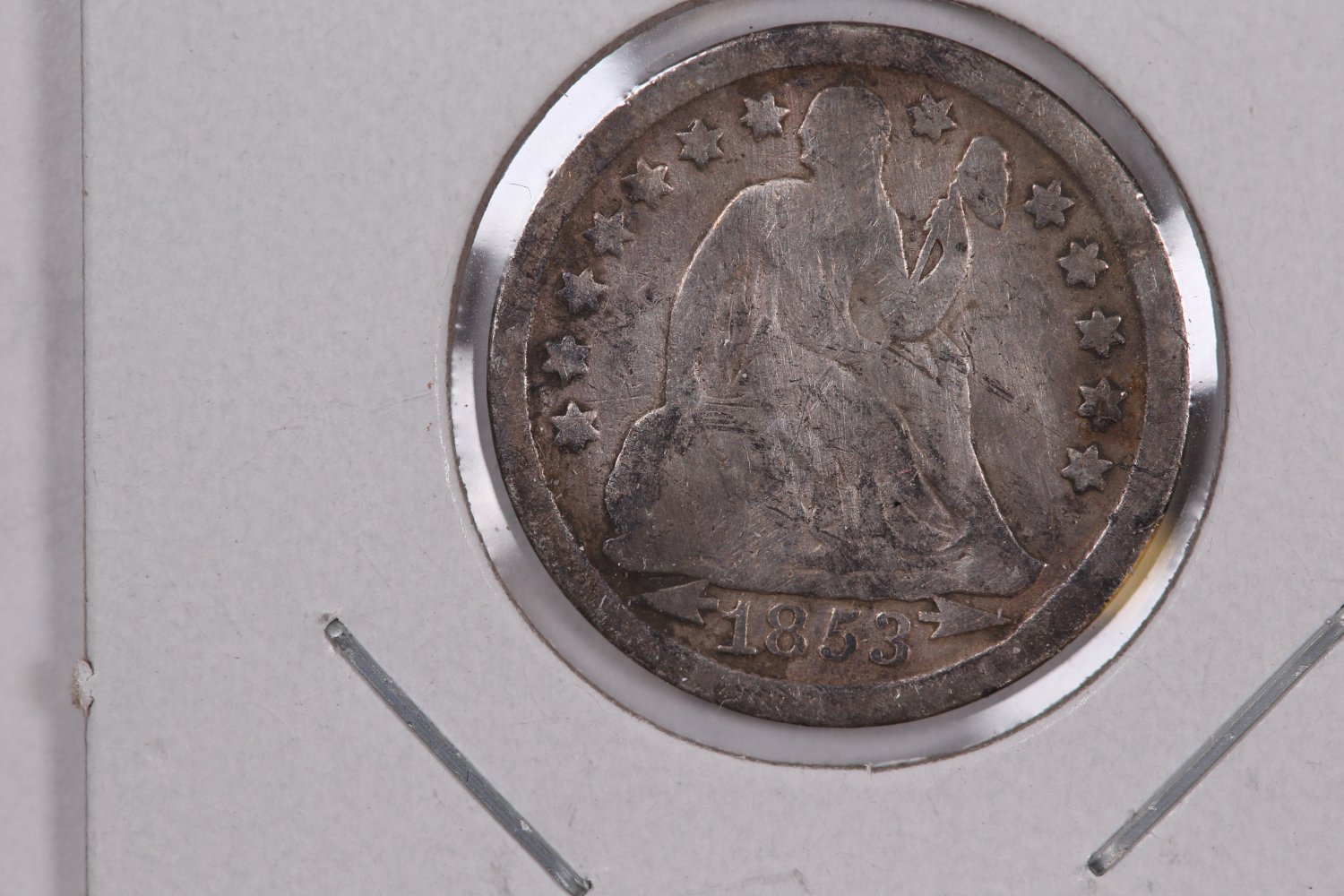 1853 Seated Liberty Dime,  Circulated Coin. Store #0638.