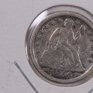 1854 Seated Liberty Dime,  Circulated Coin. Store #0647.