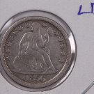 1856 Seated Liberty Dime,  Large Date. Circulated Coin. Store #0659.