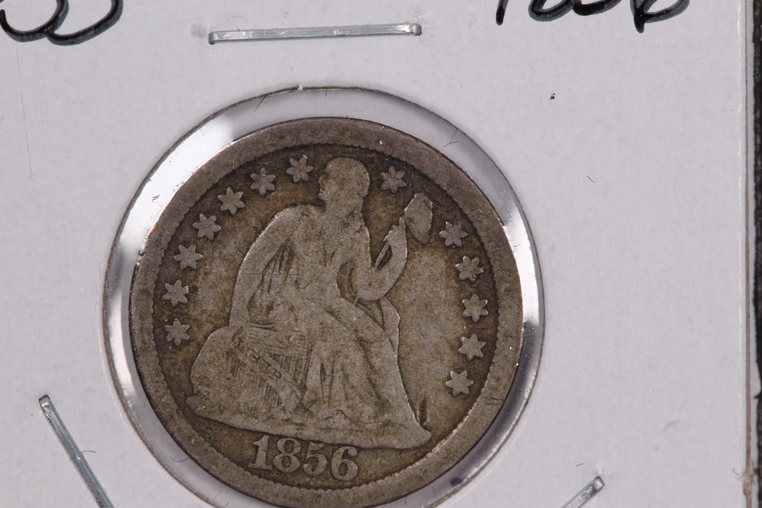 1856 Seated Liberty Dime,  Large Date. Circulated Coin. Store #0663.