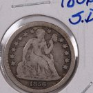 1856 Seated Liberty Dime,  Small Date. Circulated Coin. Store #0675.