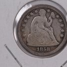 1858 Seated Liberty Dime,  Circulated Coin. Store #0693.