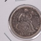 1872-CC  Seated Liberty Dime,  Very Fine, Circulated Coin,  RARE DATE. Store #0728.