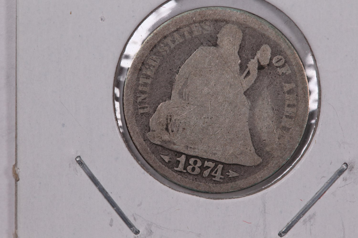 1874 Seated Liberty Dime, well Circulated Coin.  Store Sale#0748.