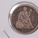 1875-CC Seated Liberty Dime,  Affordable,  Nicer Circulated Coin.  Store Sale#0774.
