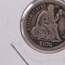 1876-CC Seated Liberty Dime,  Affordable,  Nicer Circulated Coin.  Store Sale #0800.