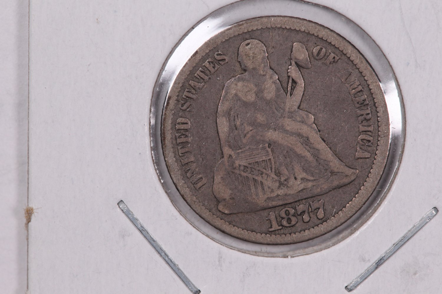 1877 Seated Liberty Dime,  Affordable,  Nicer Circulated Coin.  Store Sale #0808