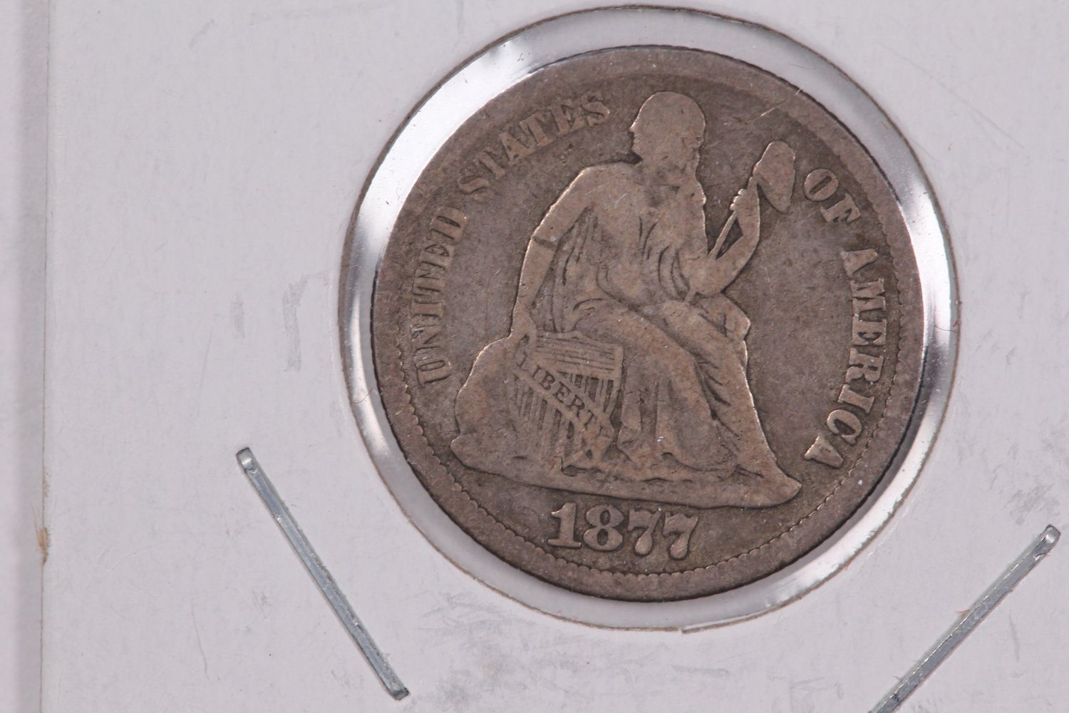1877 Seated Liberty Dime,  Affordable,  Nicer Circulated Coin.  Store Sale #0810.