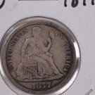 1877-CC Seated Liberty Dime,  Affordable,  Nicer Circulated Coin.  Store Sale #0824.