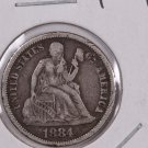 1884 Seated Liberty Dime,  Affordable,  Nicer Circulated Coin.  Store Sale #0843
