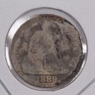 1889 Seated Liberty Dime,  Affordable,  Nicer Circulated Coin.  Store Sale #0877.