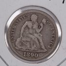 1890 Seated Liberty Dime,  Affordable,  Nicer Circulated Coin.  Store Sale #0881