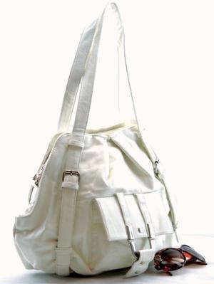 Fun White Handbag with Tall Handles
