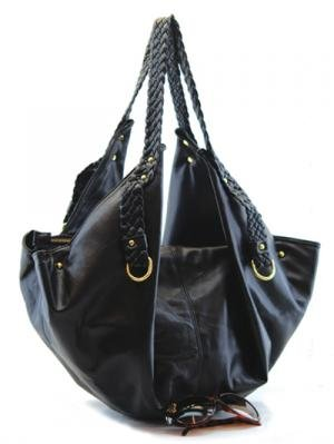 Fun Black Handbag with Tall Braided Handles