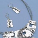 Flirty  Silver Etched Design Necklace and Earring Set