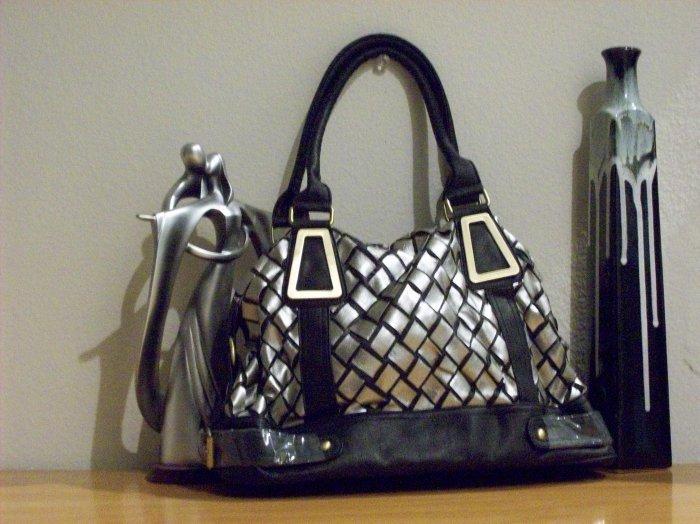 Flirty Silver and Black Checkered Affect Handbag