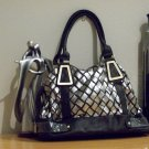 Flirty Silver and Black Checkered Affect Handbag
