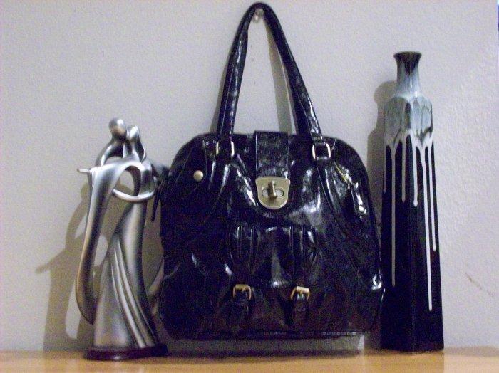 Fun Patent Black Handbag with Gold Accents