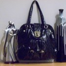 Fun Patent Black Handbag with Gold Accents