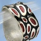 Fun Black/Red Dots Swirl Metal Cuff Bracelet