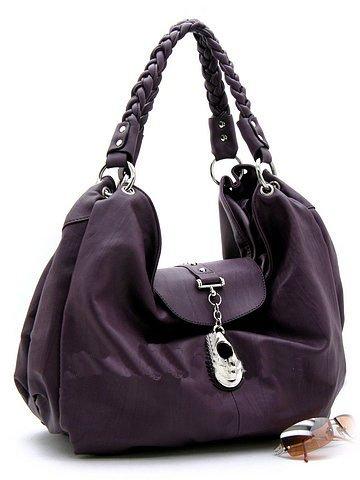 Fabulous Large Purple Handbag w/silver accents