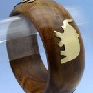 Fabulous Wooden Bangle Bracelet w/ Gold Elephant