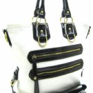 Fabulous Tall White Leather Handbag with DK Brown Accents