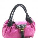 Fabulously Courageous Pink Handbag w/Brown Handles