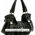 Fabulous Black Handbag w/Silver adornments