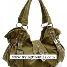 Fabulous Taupe Handbag w/Silver adornments