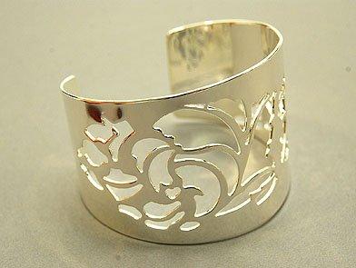 Fabulous Silver Floral Cuff Bracelet