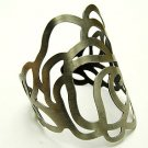 Fabulous Dark Silver Flower Cuff Bracelet
