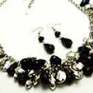 Flirty Black and Silver Bead Necklace and Earring set