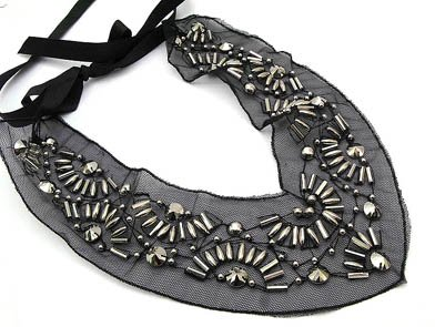 Flirty Black and Silver Bead Bib Necklace