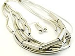 Flirty Silver Necklace and Earring Set
