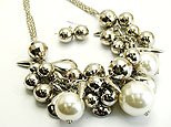 Flirty Silver Large Beaded Necklace and Earring Set